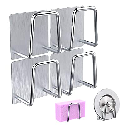 iMDION Stainless Steel Sink Sponge Holder with Adhesive Waterproof Rust-proof Space-free No-Drilling Quick Drying Rack for Kitchen Bathroom Multifunctional Accessories Organizer Caddy Hooks 4pcs