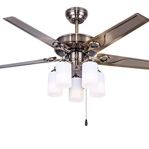 Ventilador de Techo con Luz Europea retro luz de techo Ventilador con hierro de la hoja 5 de vidrio de la lámpara ahorro de energía silenciosa sala de estar de la lámpara del ventilador eléctrico, de