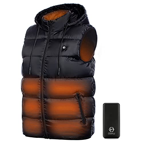 Foxelli Heated Vest - Lightweight USB Rechargeable Heated Vest for Men with Battery Included Black
