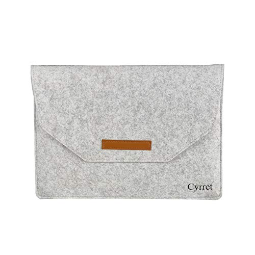 Premium Felt Sleeve Case Bag for 14-15 inch Laptops MacBook Tablets and 15.6 inch Portable Monitor, Portable Felt Carrying Pouch Protective Cover - by Cyrret, Light Grey