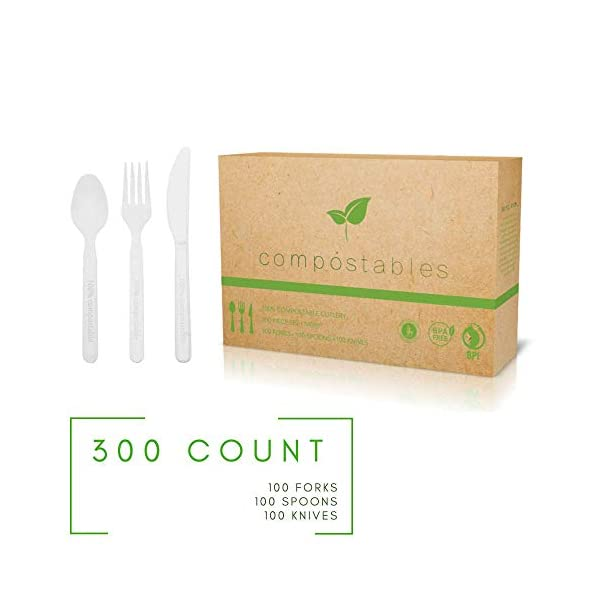 100% Eco-Friendly Compostable Cutlery Set - 300 pieces (100 Forks | 100 Spoons | 100 Knives) - Durable disposable…