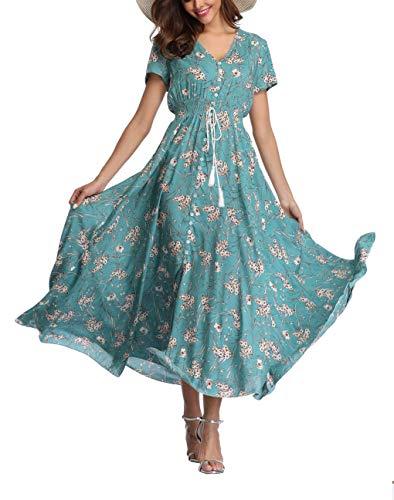 V Fashion Women's Floral Maxi Dress Button Up Split Summer Boho Long Beach Dress Turqouise