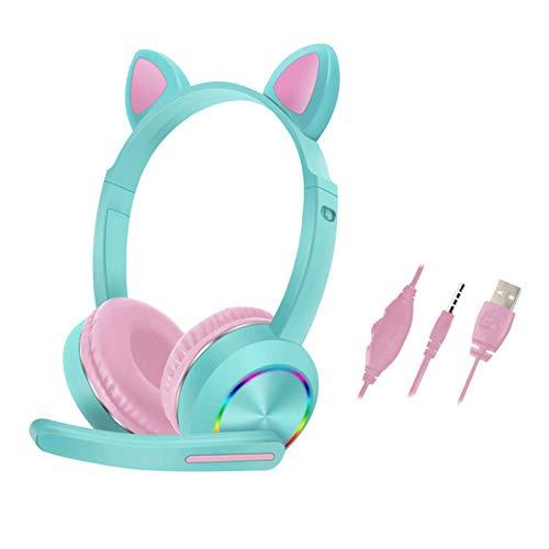 Auriculares con luz LED con micrófono, auriculares estéreo con orejas de gato, auriculares con cable sobre la oreja, control de volumen