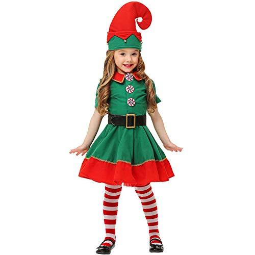 HUADE Costume da Elfo Natalizio per Bambino, Donna e Uomo,Perfetto per Natale, Carnevale e Cosplay, Taglia 80-180 cm di Altezza