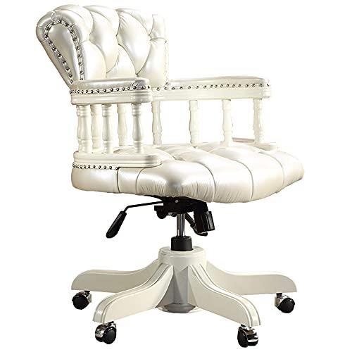 N\C ZSCC Bürostuhl Ergonomischer Schreibtischstuhl, Influencer Game Chair, Boss-Computerstuhl im europäischen Stil, Lift-Drehstuhl, Fashion Noble Chair, Weiß