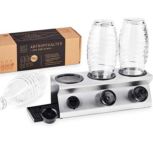 pamo Abtropfhalter platzsparender Flaschenhalter aus Edelstahl mit Kantenschutz kompatible mit Sodastream Glas Flaschen - z.B. Crystal 2.0, Easy, Emil Abtropfständer