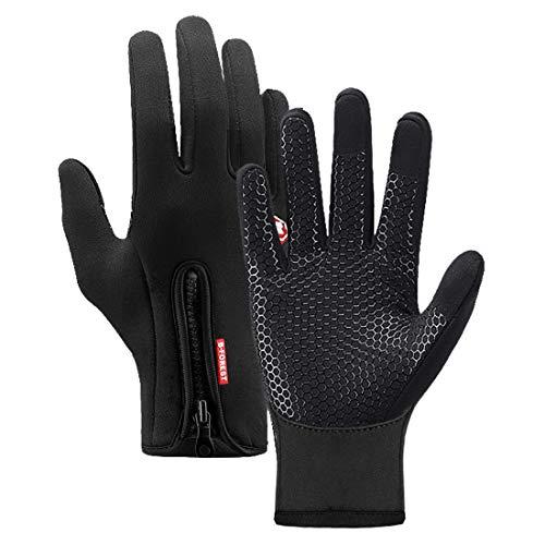 Opard Fahrradhandschuhe Herren, Touchscreen Handschuhe Adjustable Größe, rutschfeste Wasserabweisende Winterhandschuhe, Fahrrad Handschuhe für Fahren Skifahren, Skating, Klettern