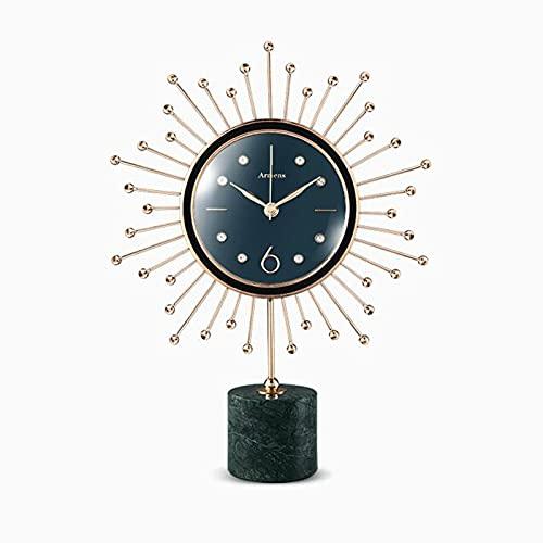 Reloj de Escritorio Reloj De Mesa De Mármol, Reloj De Escritorio De Arte Northern Europa Estilo Reloj De Pie Creativo Ornamentos para El Hogar Luz De Reloj De Cuero De Lujo(Color:Verde)