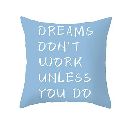 KnBoB Funda Cojin Dreams Don't Work Unless You Do 50 x 50 cm Poliéster Oro Azul Estilo 11