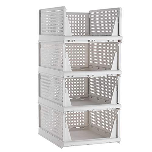 Pinkpum Juego de 4 cajas organizadoras para armario, apilables, de plástico, para armario, cajones, para cocina, dormitorio, cuarto de baño