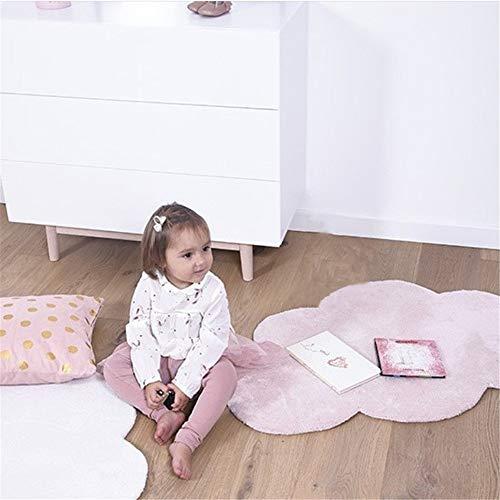 Sarah Duke - Alfombra infantil (100% algodón, 100 x 65 cm), color gris, blanco y rosa