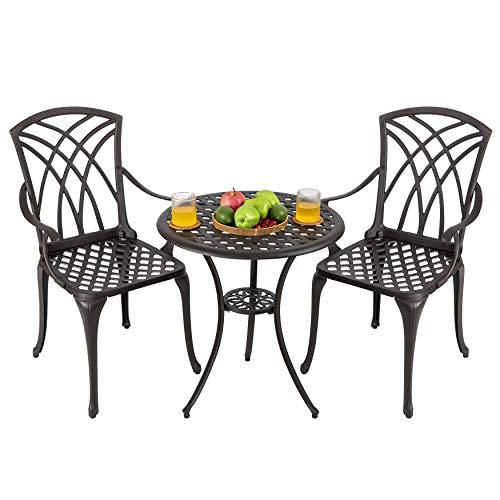 Nuu Garden 3 Piece Outdoor Cast Aluminum Bistro Set Patio Table Sets with Umbrella Hole for...