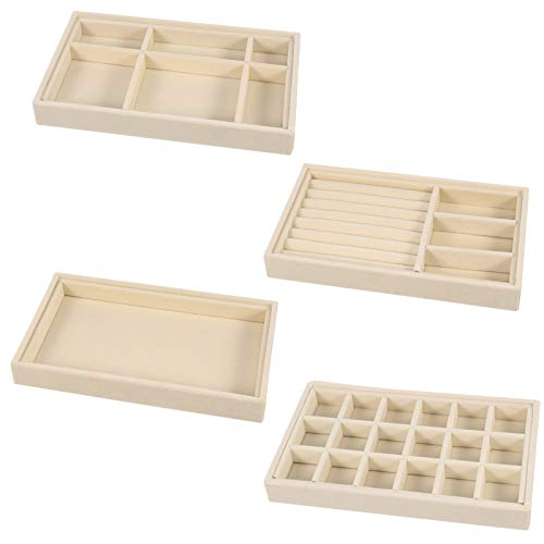RosewineC 4 Stück. Schmuck Tabletts Organizer, Tray Drawer Organizer Ohrring Ring Display Organizer Halskette Lagerung Showcase Abnehmbares Tablett