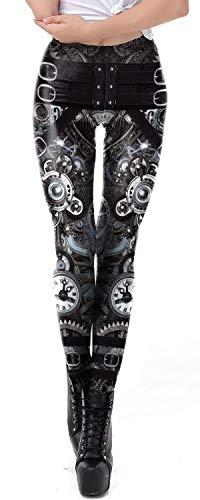 Women Steampunk Retro Leggings Comic Cosplay Punk Print Polyester Gothic Trousers Capris Pants S-4XL Plus Size (Steampunk 2, XXXL)