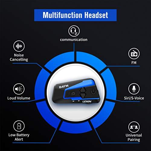LEXIN B4FM 2X Motorrad Bluetooth Headset, Helm Intercom Geräuschreduzierung, Kommunikationssystem für Motorräder, Freisprechanlage bei Motorradfahren und Skifahren - 2