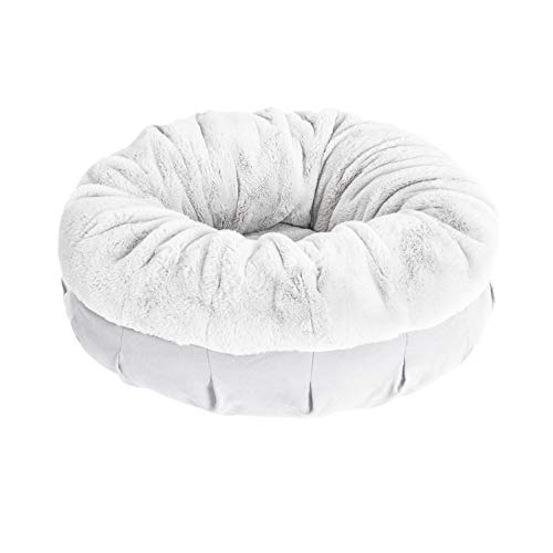 BarksBar Cozy Curler - Large & Gray - Dual Layered Memory Foam & Orthopedic Foam Dog Bed Luxurious Faux Fur 36 x 36