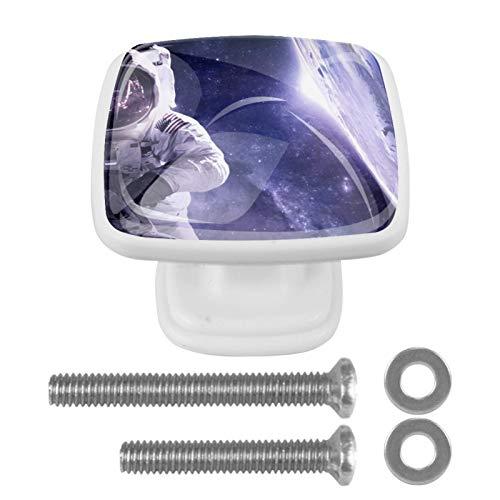 [4 piezas] pomos de cristal para aparador, tiradores de cajón, tiradores de armario para el hogar, cocina, armario, astronautas del universo del espacio exterior