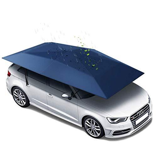 LLSS Autozelt Automatische Autoschirmabdeckung Tragbarer beweglicher Carport Zusammengeklappter Automobilschutz Sonnenschutz Anti-UV-Baldachin Sonnensichere Unterstände blau (