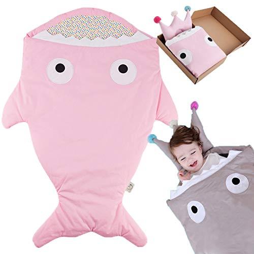 Bospyaf Anti-Patada Conjunto Saco De Dormir Cría De Tiburón, Manta De Bebé Universales Multifuncional, Ropa De Cama De Algodón Recién Nacido Lindo,Rosado