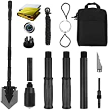Yeacool Tactical Shovel Military Grade,Folding Survival Multitool,Portable Camping Spade with Pickaxe for Car Emergency,Off Roading,Entrenching,Metal Detecting