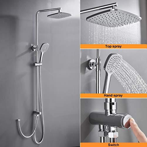WOOHSE Duschsystem ohne Armatur, Duscharmatur Regendusche mit Wandhalterung Duschkopf Eckig 23 * 23CM, Handbrause mit 3 Strahlen, Dusche Duschset inkl Verstellbar Duschstange Duschsäule Set