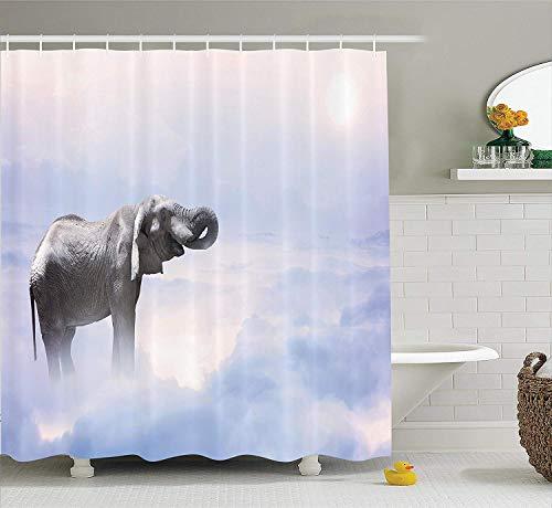 AWMAXG Mystic House Decor Duschvorhang-Set, Elefant, stehend in den Wolken, Metapher für gesegnete Tierstärke, 180 x 180 cm, Grau/Blau, Polyester-Baumwolle, Colour01, 180x180CM