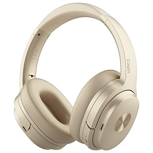 COWIN SE7 Active Noise Cancelling Headphones Bluetooth Headphones Wireless Headphones Over Ear with Microphone/Aptx, Comfortable Protein Earpads, 50 Hours Playtime for Travel/Work, Gold