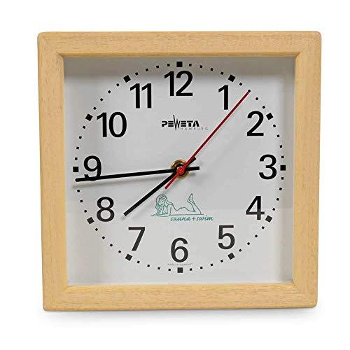 Sauna Uhr Quadratisch, elektrisch/Hitzebeständige Wanduhr für die Saunakabine bis ca. 120 °C