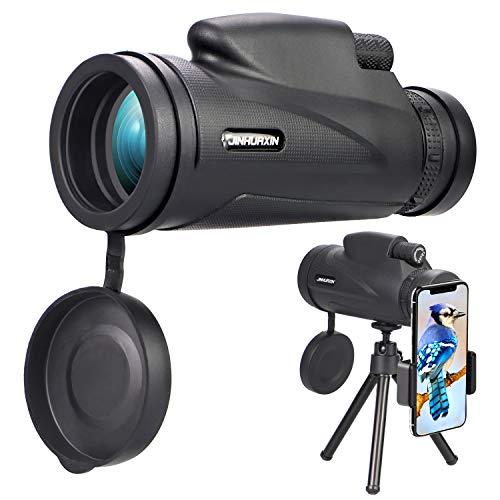 Jinhuaxin Telescopio Monocular, 12 x 50 HD Monocular Impermeable monoculo telescopio portatil para Viajes de Caza senderismo turismo juego de pelota, con Adaptador de Soporte para Smartphone y trípode