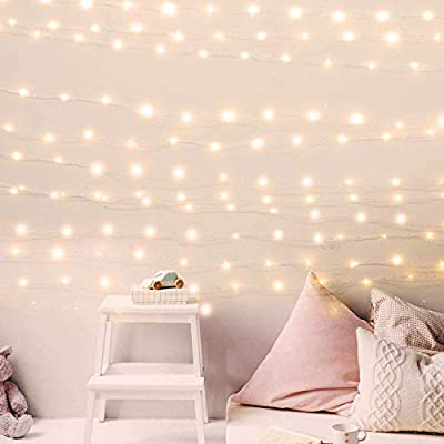 200 Led Fairy Lights 66Feet Starry String Lights Waterproof Firefly Lights Warm White on Copper Wire UL Adaptor Included, for Indoor Outdoor Christmas Decorative Patio Wedding Garden