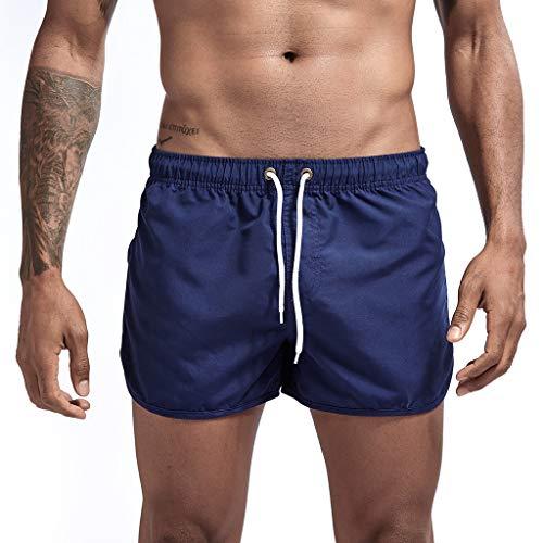 iLXHD Men's Swim Trunks Summer Drawstring Splicing Swimming Trousers Beach Surfing Shorts(10+Color) Dark Blue