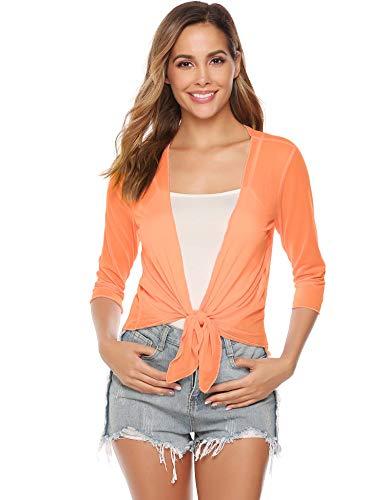 Damen Bolero 3/4 Arm Elegant Jäckchen für Kleid Leicht Sommer Cardigan Dünne Jacke zum Knoten,Orange,S