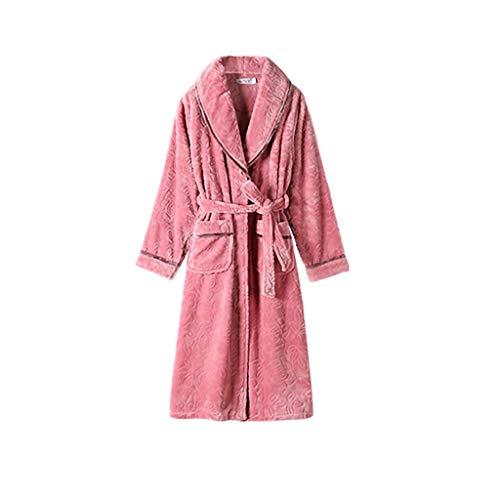 Albornoz largo para mujer, kimono, acogedor, cálido, con bolsillos, color rosa, talla XXXL