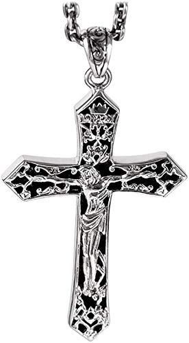 ZJJLWL Co.,ltd Collar S925 Plata Jesús Cruz Colgante Collar Hombres y Mujeres Pareja Disfraz Fiesta Regalo de cumpleaños Collar Joyas/Plata.