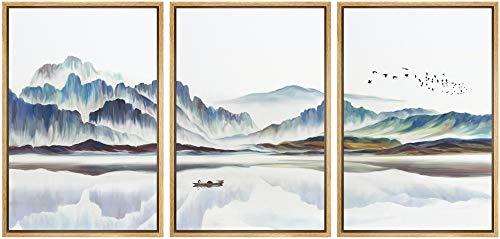 NWT Framed Wall Art Print Set Watercolor Mountain Landscape with Boat Nature Wilderness...