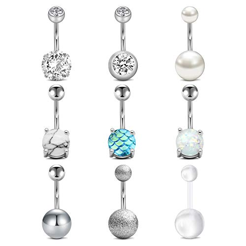"""QWALIT Belly Button Rings Surgical Steel 14G Opal CZ Navel Piercings Jewelry for Women Girls 3/8"""" 10mm Silver"""