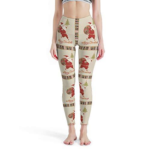 Gamoii Women's Sports Leggings Merry Christmas Santa Claus Printed Sports Trousers Yoga Pants High Waist Elasticity Leggings Trousers - White - XX-Large