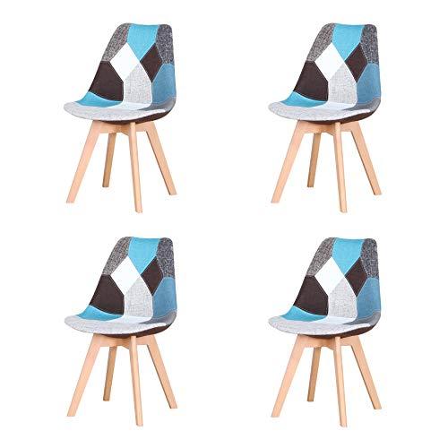 Uderkiny Pack de 4 sillas Silla de Comedor de Patchwork con Cojines, Adecuada para Comer en la Cocina de la Sala de Estar, etc (Azul Patchwork)
