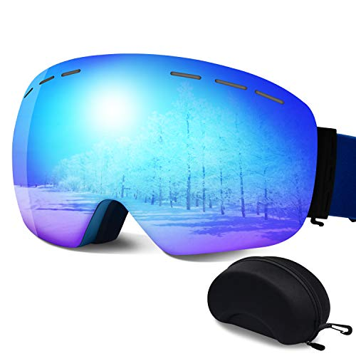 ERUW Ski Goggles - Frameless Anti-Fog Over Glasses Snowboard Goggles with UV Protection Windproof Helmet Compatible Dual Lens Goggles for Skiing & Skating & Outdoor Sport (Blue)…