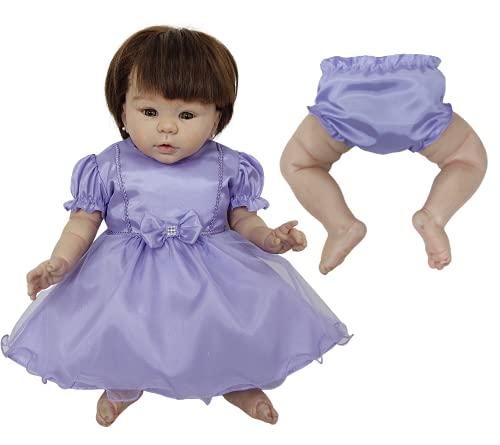 Vestido + Calcinha de Princesas Para Bebê Reborn Roupas de Bonecas (Lilás)