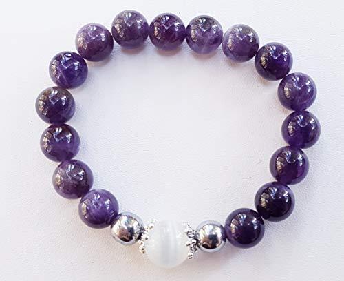 Bracelet améthyste et pierre de lune, calme douceur, sérénité sensualité