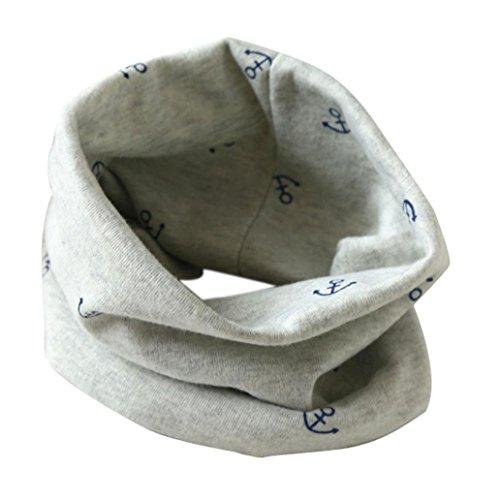 Longra Écharpe Automne Hiver bébé Garçons Filles Collier Coton O Anneau Écharpe Neck 40 * 37cm pour 2 à 10 Ans (Gris)