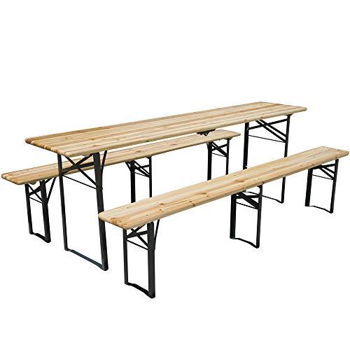 Bierzeltgarnitur klappbar Set 3 teilig Sitzgruppe - Biertisch und Bänke Garten Festzeltgarnitur faltbar L217 x B48/24 cm Gartenmöbel Holz lackiert
