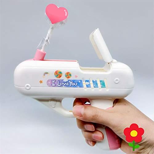KFEK Lollipop Storage, Juguetes novedosos Pistola de juguete de caramelo, lanzador de pistola de piruleta, juguete ligero de almacenamiento de piruletas para niños adultos I Love You (rosa)