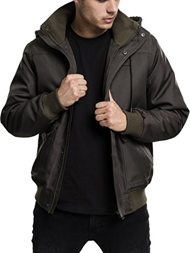 Urban Classics Herren Winterjacke Heavy Hooded Jacket, gefütterte Jacke mit abnehmbarer Kapuze mit Kunstfell-Futter - Farbe darkolive, Größe M