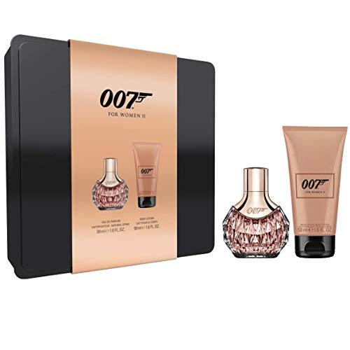 James Bond for Woman Tin Box II, Verführerisches Eau de Parfum und Bodylotion für jeden Anlass, für moderne und feminine Frauen, 1 x 30 ml und 1 x 50 ml