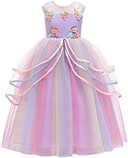 Yalla babY Unicorn Dress Girls with Headband - Maxi Long Gown - Multi Colors - Pageant Party Dress Costume for Girls - 11...