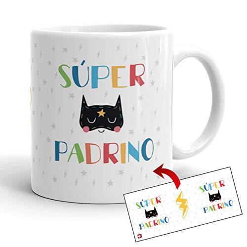 Kembilove Tazas de Familia – Originales Tazas de Desayuno para Toda la Familia – con Mensaje Eres un Súper Padrino – Tazas de Café para Hombres y Mujeres – Regalos Originales para Familiares
