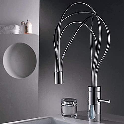 DFGBXCAW Grifo Baño Cocina Personalidad La Forma se Puede Girar Todo Cobre Ajuste de Agua fría y Caliente Hogar Hotel Baño Orificio único Hermoso