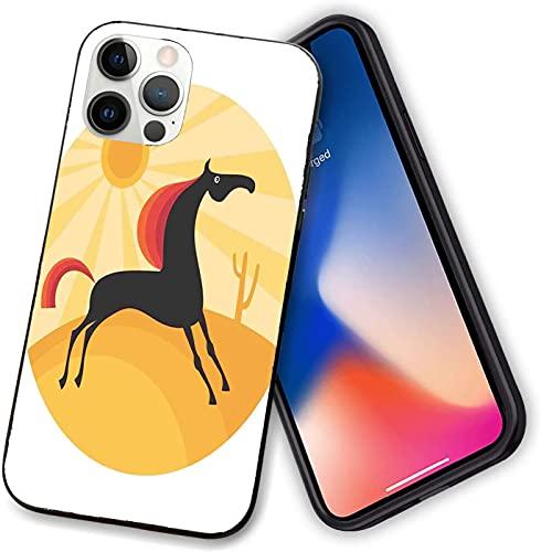 Funda compatible con iPhone 12 Series, figura abstracta de animales corriendo en el desierto caliente verano naturaleza al mediodía, protección completa para iPhone 12 Pro max-6.7 pulgadas